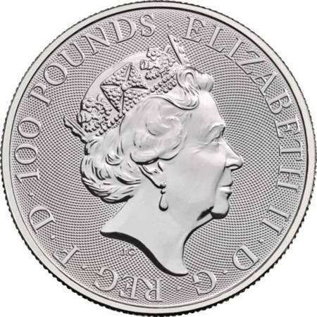 Platynowa Moneta Bestie Królowej: White Lion of Mortimer 1 uncja 24h