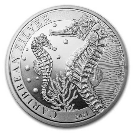 Srebrna Moneta Barbados - Konik Morski 1 uncja 24h
