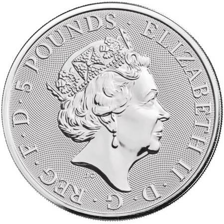 Srebrna Moneta Bestie Królowej: Biały Chart z Richmond 2 uncje