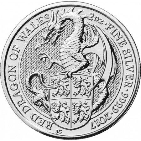 Srebrna Moneta Bestie Królowej: The Dragon 2 uncje 24h
