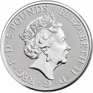 Srebrna Moneta Bestie Królowej: White Lion of Mortimer 2 uncje