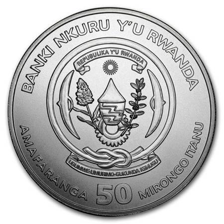 Srebrna Moneta Rok Psa - Rwanda 1 uncja 2018r 24h