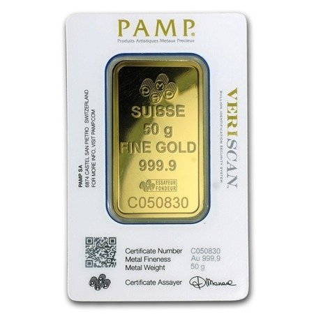 Sztabka Złota PAMP CertiCard 50g