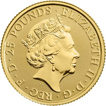 Złota Moneta Bestie Królowej: Biały Chart z Richmond 1/4 uncji 24h