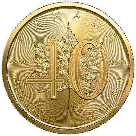 Złota Moneta Kanadyjski Liść Klonowy 1 uncja - 40. rocznica 24h
